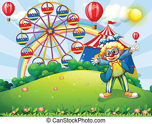 Illustration of a clown at the hilltop with a carnival and a...