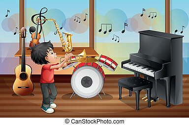 A kid with musical instruments