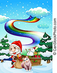 Santa and his cat in a snowy area with a rainbow -...