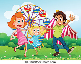 A happy family at the carnival in the hilltop - Illustration...