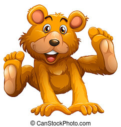 A playful brown bear - Illustration of a playful brown bear...