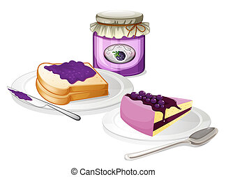 Jam and bread - Illustration of the jam and bread on a white...