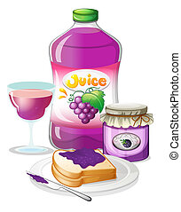 Grape juice, jam and sandwich - Illustration of the grape...