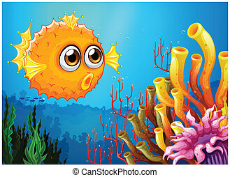 A puffer fish near the coral reefs - Illustration of a...