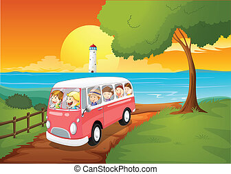 A pink schoolbus travelling - Illustration of a pink...