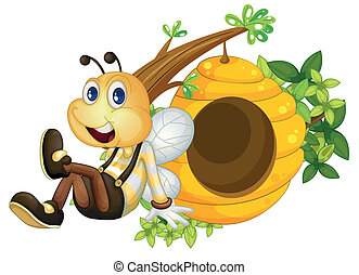 A bee sitting beside the beehive - Illustration of a bee...