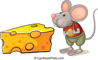 A slice of cheese beside the mouse - Illustration of a slice...