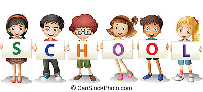 Kids forming the school letters - Illustration of the kids...