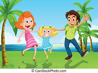 A happy family dancing near the river