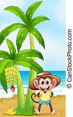 A smiling monkey at the beach with bananas