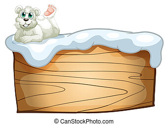 A polar bear above the empty wooden board - Illustration of...