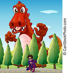 A scary giant crocodile and a superhero - Illustration of a...