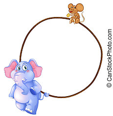 An elephant, a mouse and a round empty template