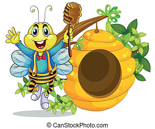 A happy bee holding a stick with honey - Illustration of a...