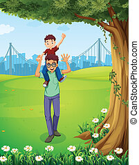 A father carrying his son near the tree across the buildings