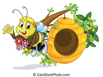 A bee with flowers near the beehive - Illustration of a bee...