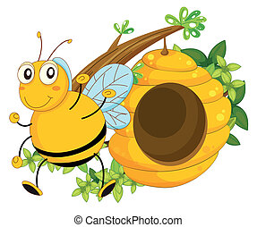 A big bee near the beehive - Illustration of a big bee near...