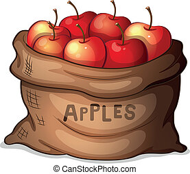 A sack of apples - Illustration of a sack of apples on a...