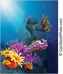 An eel under the sea with coral reefs - Illustration of an...