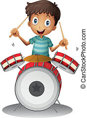 A little drummer - Illustration of a little drummer on a...
