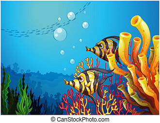 A deep sea with beautiful coral reefs and fishes -...