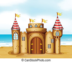 A castle at the beach - Illustration of a castle at the...