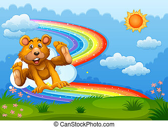 A sky with a bear playing near the rainbow - Illustration of...