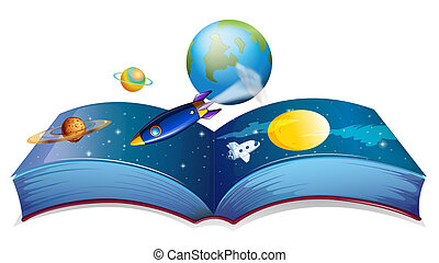 A book showing the earth and other planets - Illustration of...