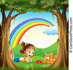 A girl and her pet at the forest with a rainbow in the sky -...