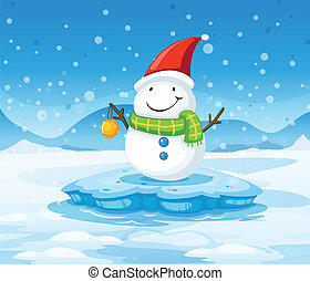 A snowman wearing Santa's red hat - Illustration of a...