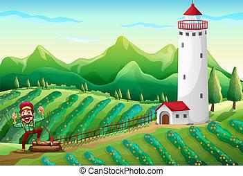 Un, Leñador, torre, granja