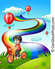 A boy biking at the hilltop with a rainbow - Illustration of...