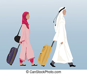 arab couple - an illustration of an arab couple in...
