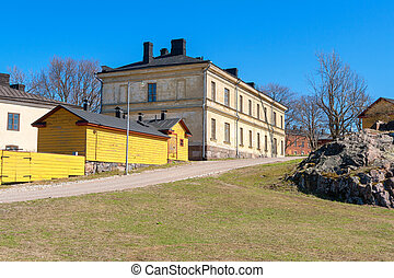 Street Suomenlinna island, Finland - Residential houses at...