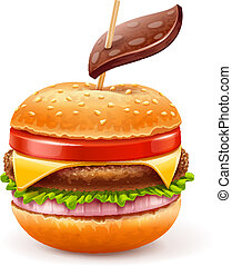Unhealthy eating concept with hamburger like apple with leaf...