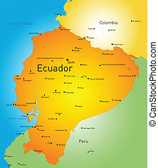 Ecuador - Abstract vector color map of Ecuador country