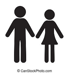 Man and woman icons - Black vector man and woman icons with...