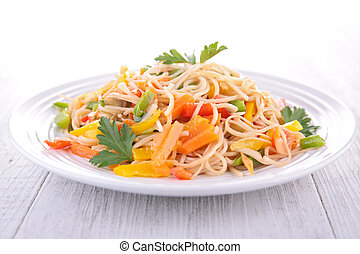 noodles and vegetables