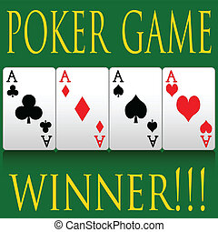 Poker - Illustration of poker cards on the poker table