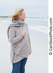 Contemplative casual senior woman at beach - Contemplative...