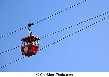 Cable car with Blue Sky Background
