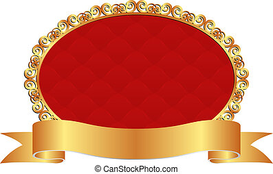 red background with golden ribbon