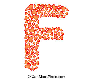 letter f made of valentines