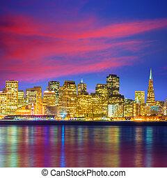 San Francisco sunset skyline California bay water reflection