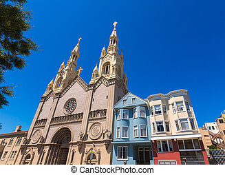 San Francisco St Peter and Paul Church at Washington Square...