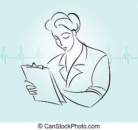 Nurse charting - Nurse with a chart clipart