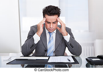 Stressed Businessman - Portrait Of A Stressed Businessman...