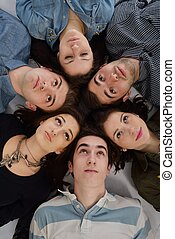 happy teens group - happy teens people group isolated on...