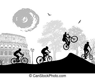 Bicycle riders at Rome in front of colloseum, vector...