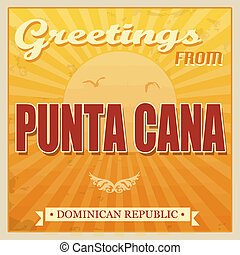 Punta Cana, Dominican Republic touristic poster - Vintage...